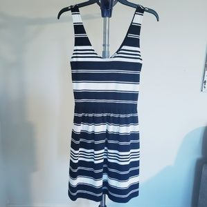 J Crew Navy Blue and White Striped Sundress XS